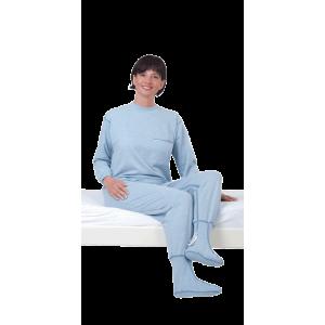 Suprima 4709 - Pflegeoverall Baumwolle/Polyester, lang, Bein-RV, Rücken-RV, mit Fuß bleu