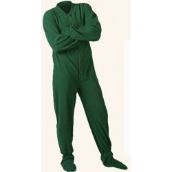 "Fleece - Schlafoverall ""HUNTER GREEN"" mit Po-Klappe LAGERWARE"