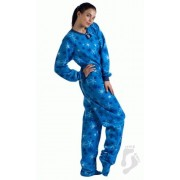 "Fleece - Schlafoverall ""ITS A SNOW DAY"" blau Schneeflocken"