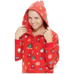 "Fleece - Schlafoverall ""HOLLY JOLLY CHRISTMAS"" mit Kapuze - LAGERWARE"
