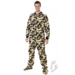 "Fleece - Schlafoverall ""CAMOFORCE GREEN"" mit Po-Klappe"