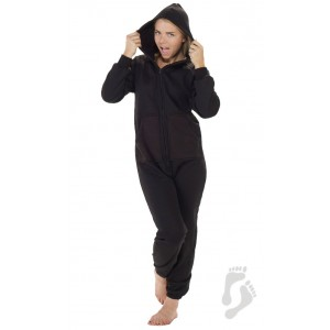 "Fleece - Freizeitoverall ""PITCH BLACK"" mit Kapuze"