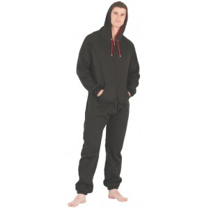 "Fleece - Freizeitoverall ""BLACK & RED"" mit Kapuze"