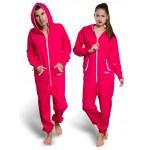 Geelee 5006 - Overall Freizeitoverall einteiliger Hausanzug Sportoverall pink-rot mit Kapuze - LAGERWARE