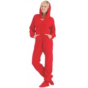 "Fleece - Schlafoverall ""BRIGHT RED"" mit Kapuze"