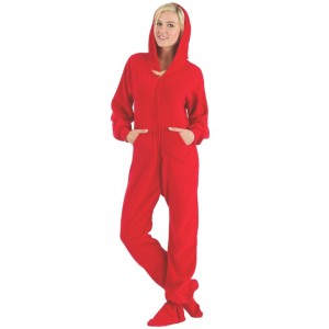 "Fleece - Schlafoverall ""BRIGHT RED"" mit Kapuze - LAGERWARE"