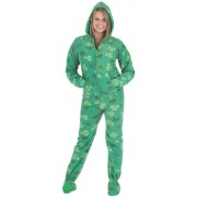 "Fleece - Schlafoverall ""SHAMROCKS"" mit Kapuze"